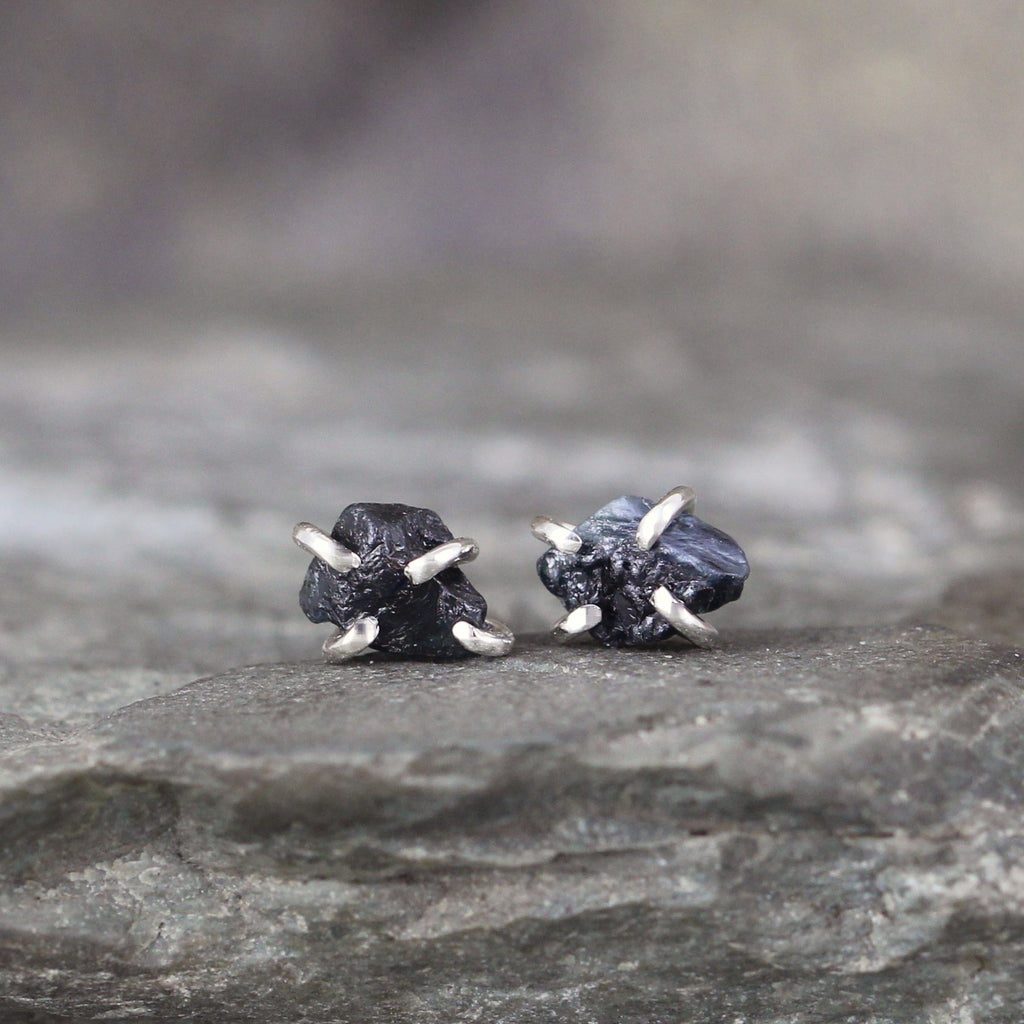 Dark Blue Raw Uncut Rough Sapphire Gemstone Earrings - Blue Rustic Gemstone