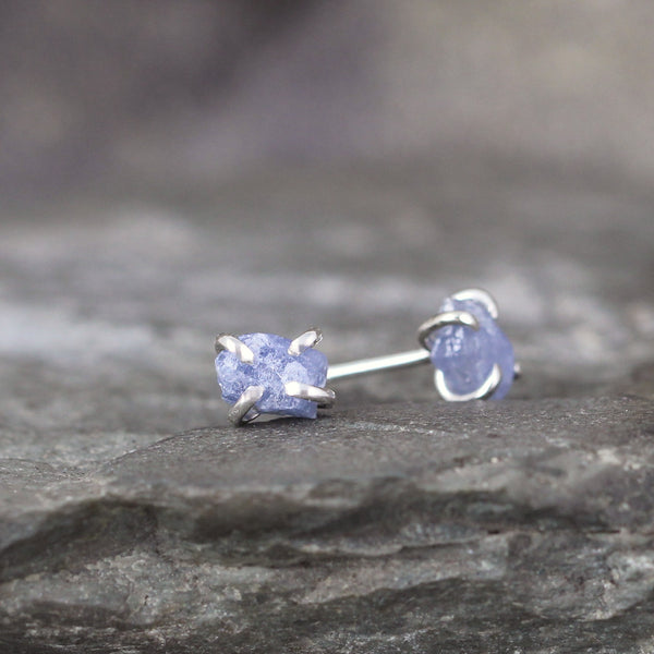Denim Blue Raw Uncut Rough Sapphire Gemstone Earrings - Blue Rustic Gemstone