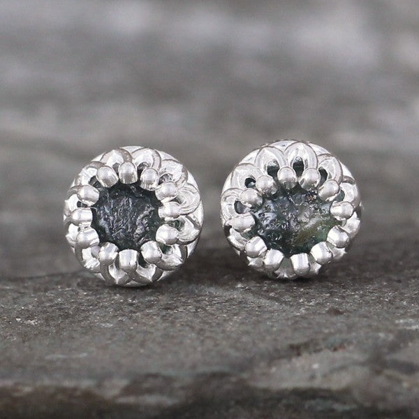 Blue Green Montana Sapphire Earrings - Sterling Silver Crown Setting