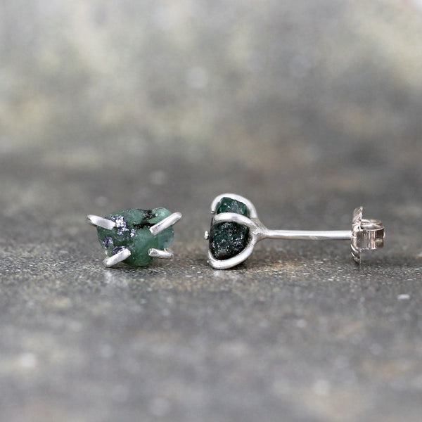 Emerald Earrings - Raw Uncut Rough Emerald Gemstone Earrings