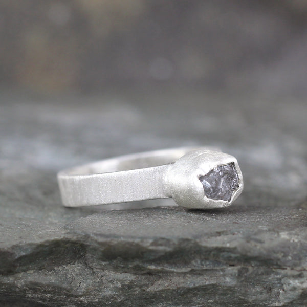 RESERVED FOR BW - Raw Uncut Diamond Engagement Ring and Wedding Band