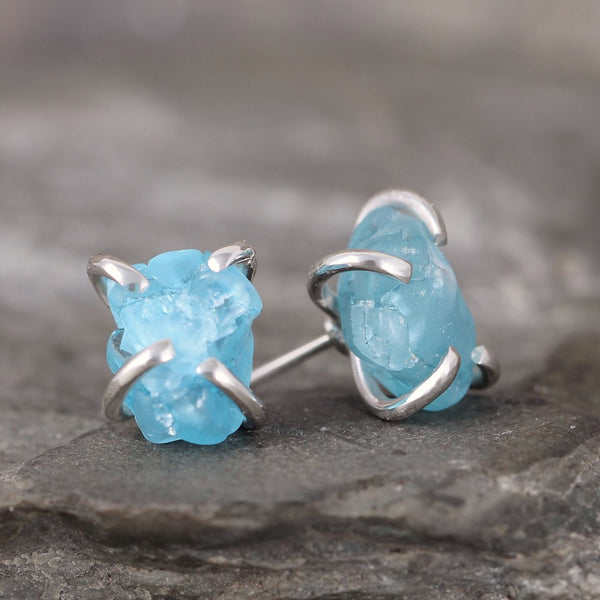 Apatite Earrings - Raw Uncut Rough Apatite Gemstone Earrings - Blue Rustic Gemstone
