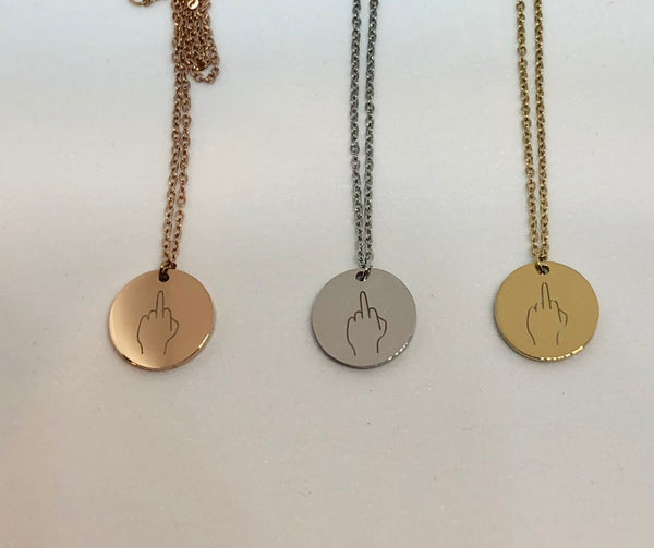 Hand Gestures Necklace - Middle Finger - Stainless Steel - You choose silver tone, yellow tone, rose tone