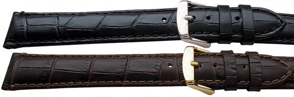 Croc Grain Calf Leather Watch Strap - Matte Finish - XXL length - Black, Brown or Dark Brown