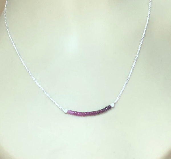 Ombre Ruby Bar Pendant - Ruby Beaded Necklace