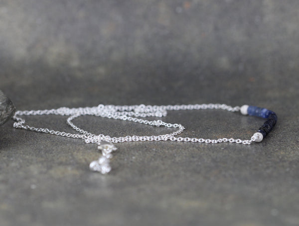 Ombre Sapphire Bar Pendant - Sapphire Beaded Necklace