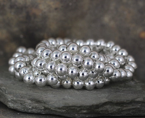 8mm Beaded Bracelet - Shiny Ball Bracelet - Stretchy Bracelet - Stainless Steel Silver Tone
