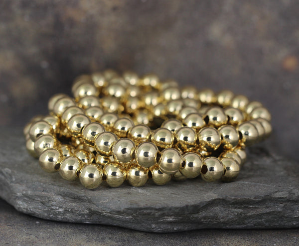 8mm Beaded Bracelet - Shiny Ball Bracelet - Stretchy Bracelet - Stainless Steel Gold Tone