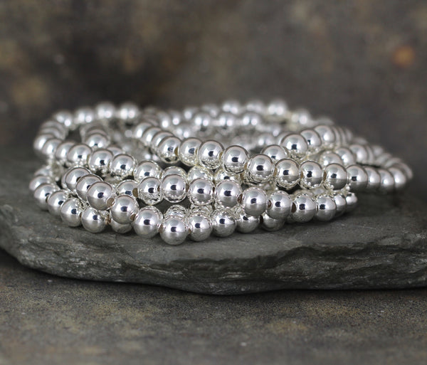6mm Beaded Bracelet - Shiny Ball Bracelet - Stretchy Bracelet - Stainless Steel Silver Tone