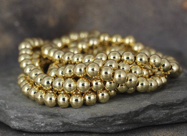 6mm Beaded Bracelet - Shiny Ball Bracelet - Stretchy Bracelet - Stainless Steel Gold Tone