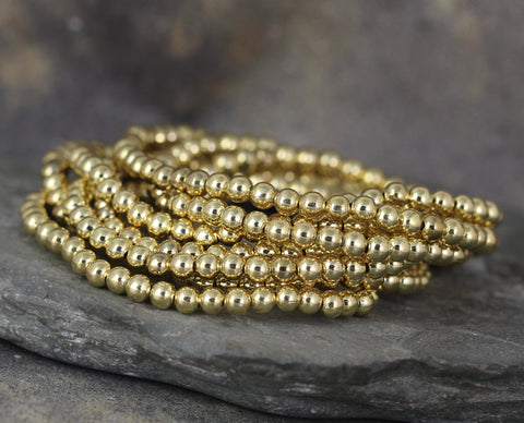 4mm Beaded Bracelet - Shiny Ball Bracelet - Stretchy Bracelet - Stainless Steel Gold Tone