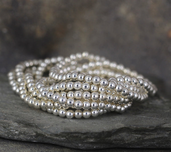 4mm Beaded Bracelet - Shiny Ball Bracelet - Stretchy Bracelet - Stainless Steel Silver Tone