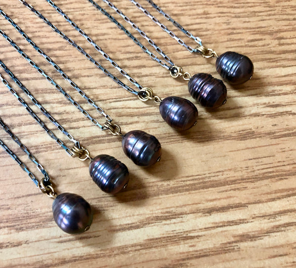Black Pearl Drop Pendant - Modern Pearl Pendant - Mixed Metals