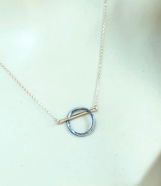 Modern Mixed Metals Circle Necklace - 14K Rose Gold and Sterling Silver