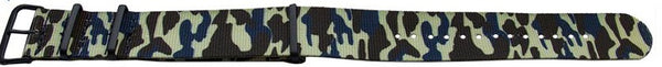 Blue Camouflage Pattern NATO style watch band