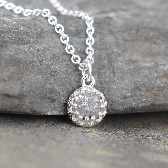 Rough Diamond Pendant -  Rustic Round Shape - April Birthstone