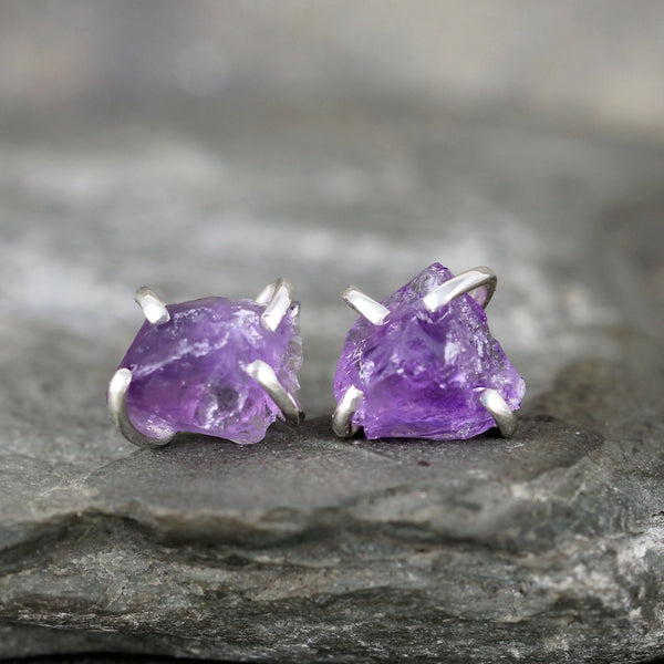 Amethyst Earrings - Raw Uncut Rough Amethyst Gemstone Earrings - Purple Rustic Gemstone