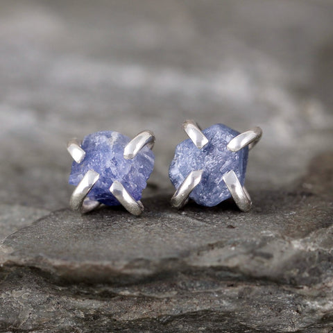 Sapphire Earrings - Raw Uncut Rough Sapphire Gemstone Earrings - Blue Rustic Gemstone