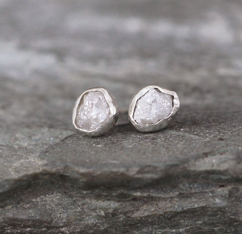 Rough Raw Uncut Diamond Earrings - Bezel Set Sterling Silver Stud Style