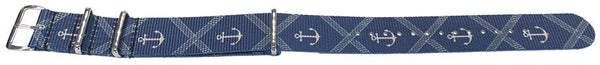 Blue Anchor Pattern NATO style watch band