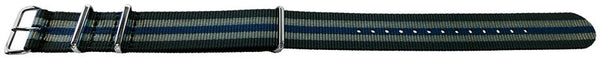 Black Grey and Blue Stripes NATO style watch band