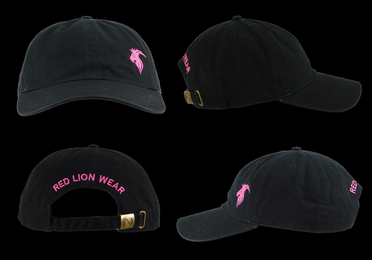 Black Baseball Cap with Pink Logo