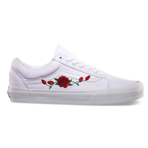 All White Rose Old Skool Vans