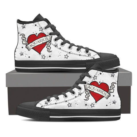 Aquarius Zodiac Heart Tattoo Shoes