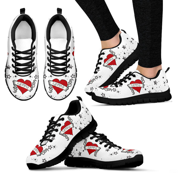 Gemini Zodiac Heart Tattoo Shoes