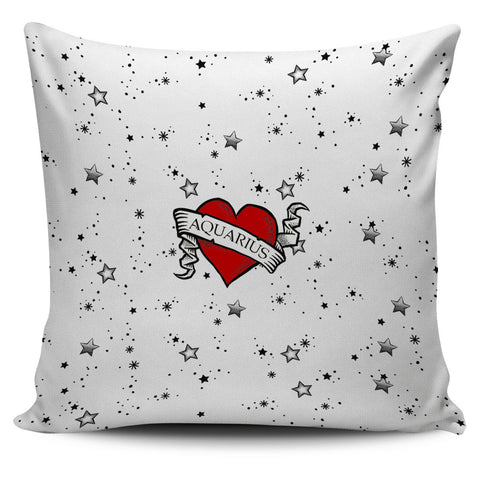 Zodiac Heart Tattoo Pillow Cover