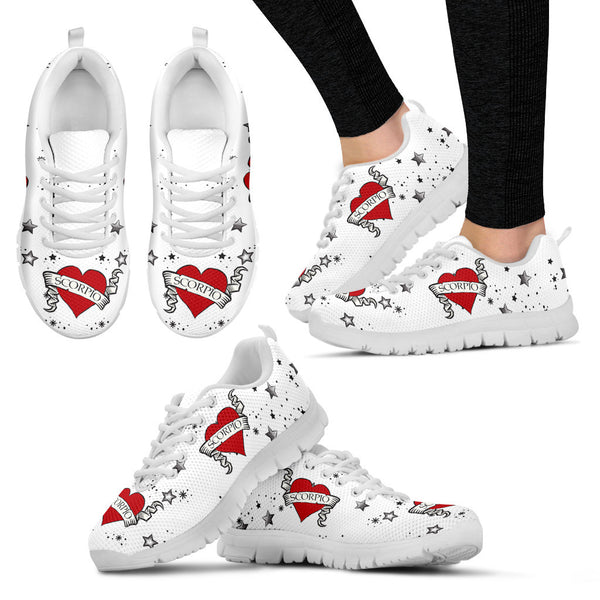 Scorpio Zodiac Heart Tattoo Shoes