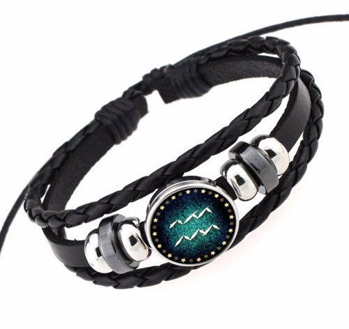 Aquarius Black Leather Zodiac Bracelet