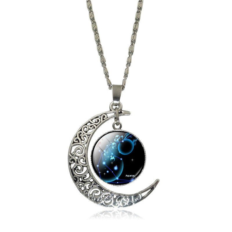 by products wolf necklace double moon crescent lavender