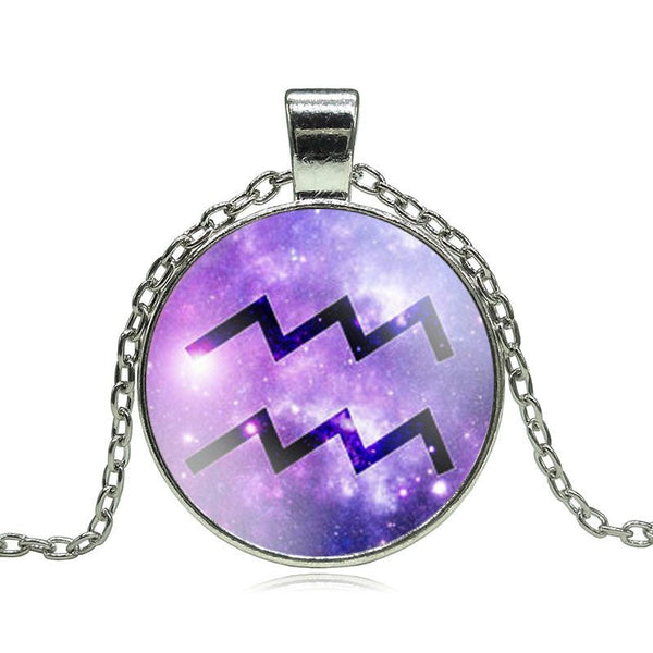 Aquarius Purple Medallion Necklace