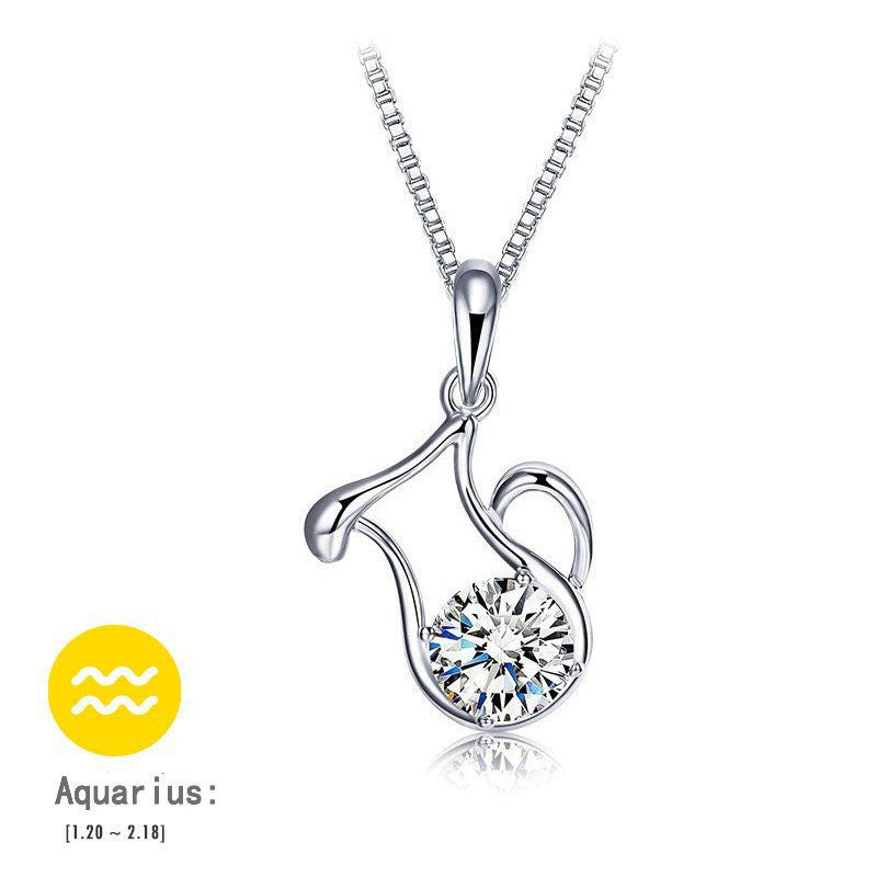 Aquarius Silver Zodiac Necklace