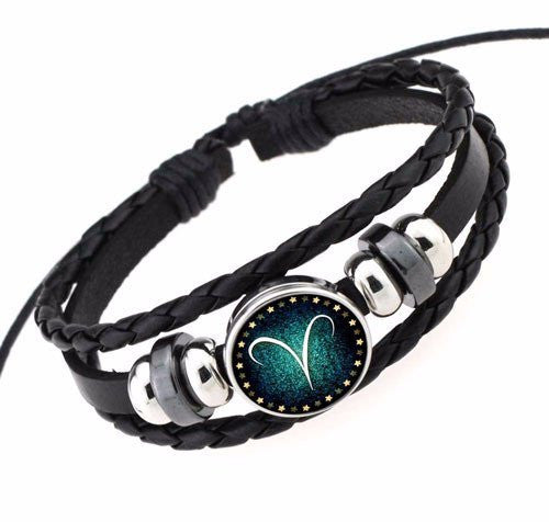 Aries Black Leather Zodiac Bracelet