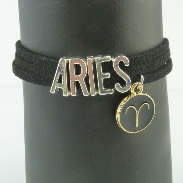Aries Black and Silver Zodiac Charm Bracelet