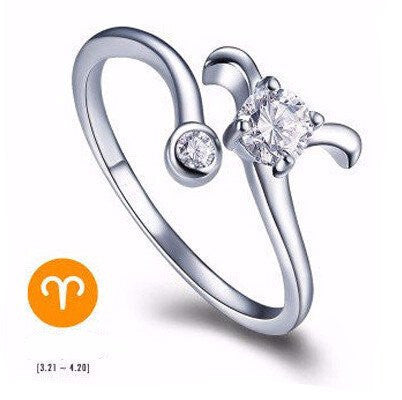 Aries Silver Zodiac Ring