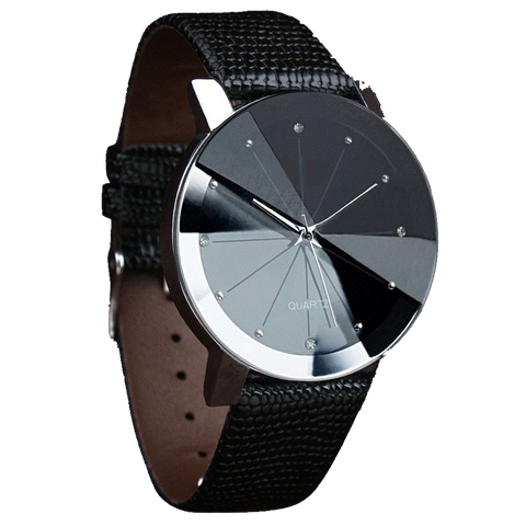 Black Quartz Watch with Silver Detail