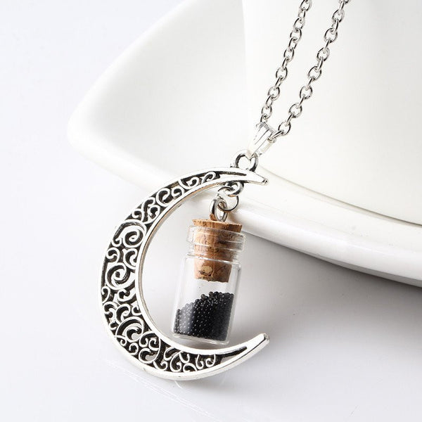 Black Crescent Moon Necklace with Wishing Beads