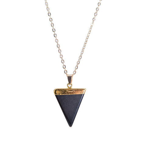 Black Gold Necklace with Triangle Stone Pendant