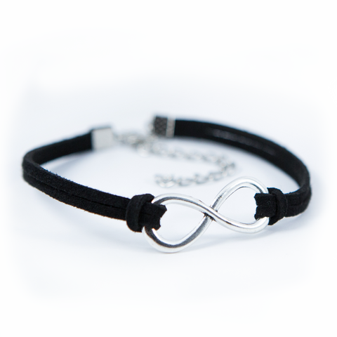 Black Silver Infinity Leather Bracelet