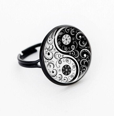 Black Yin Yang Ring