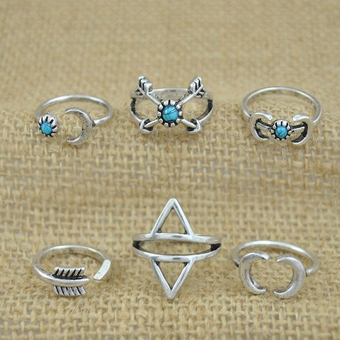 Bohemian Silver Plated Rings with Turquoise Accents (Set of 6)
