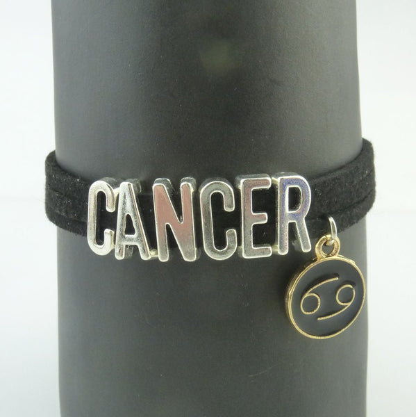 Cancer Black and Silver Zodiac Charm Bracelet