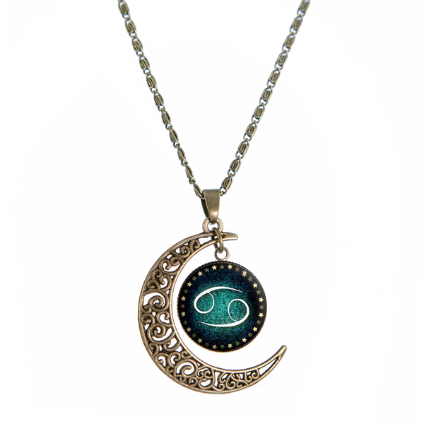 Cancer Bronze Crescent Moon Necklace