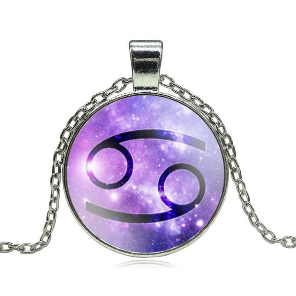 Cancer Purple Medallion Necklace
