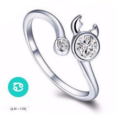 zodiac item white spinel ring natural sign jewelry topaz black cancer fine rings sterling silver solid hutang