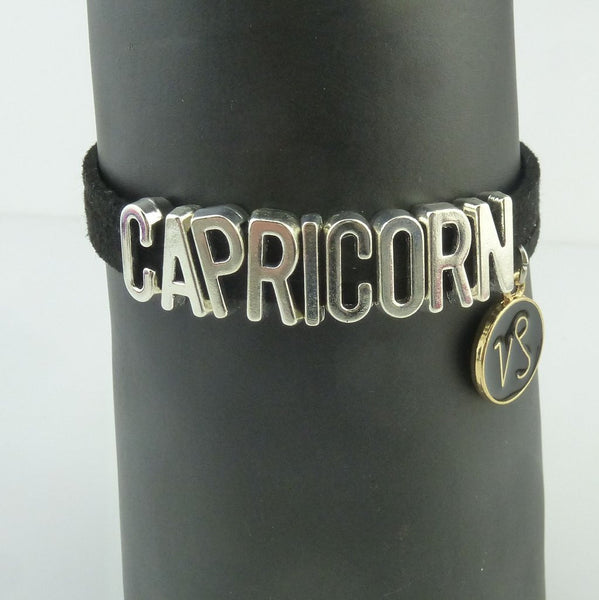 Capricorn Black and Silver Zodiac Charm Bracelet