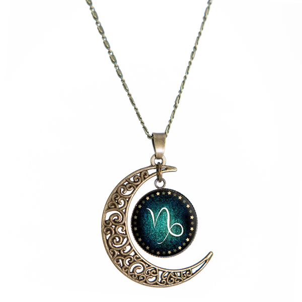 Capricorn Bronze Crescent Moon Necklace